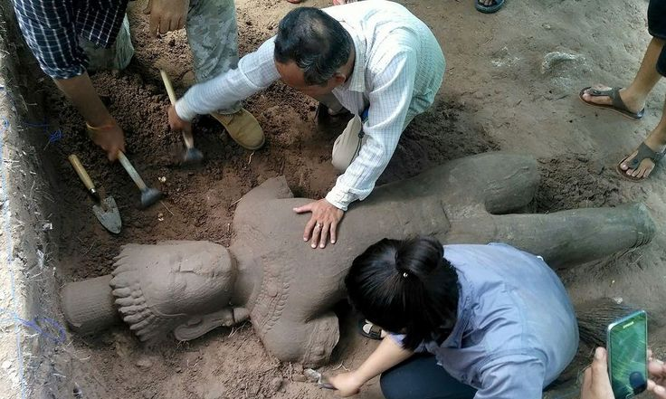 Nearly two metre tall ancient statue unearthed at Cambodia's Angkor complex - The Archaeology News Network
