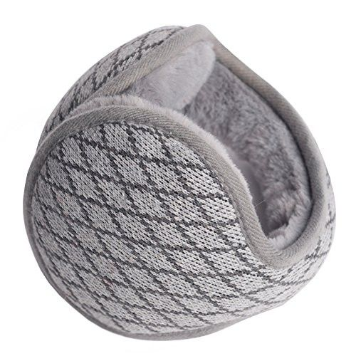 Winter Men and Women Earmuffs Thicker Foldable Ear Cover-Diamond (Gray)