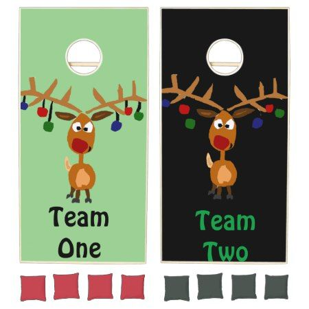 Rudolph Red-Nosed Reindeer Christmas Cornhole Set - tap to personalize and get yours