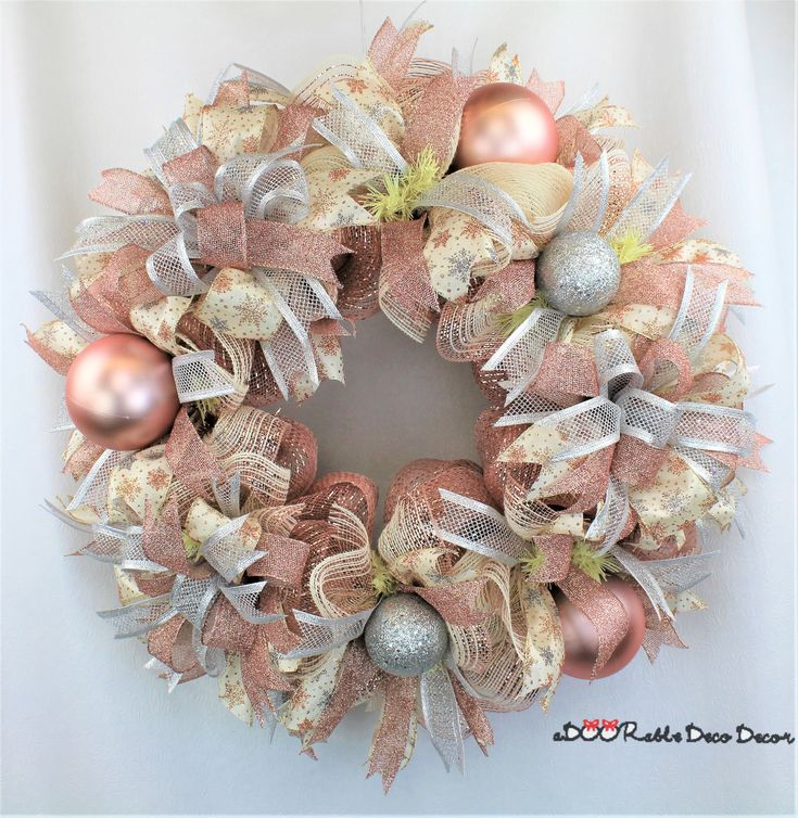 Rose Gold Wreath, Rose Gold Christmas Wreath, Rose Gold Decor, Christmas Wreath, Deco Mesh Christmas Wreath, Rose Gold and Silver,Christmas by aDOORableDecoDecor on Etsy
