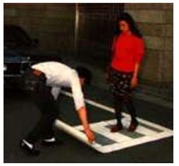 Portable pedestrian crossing carpet