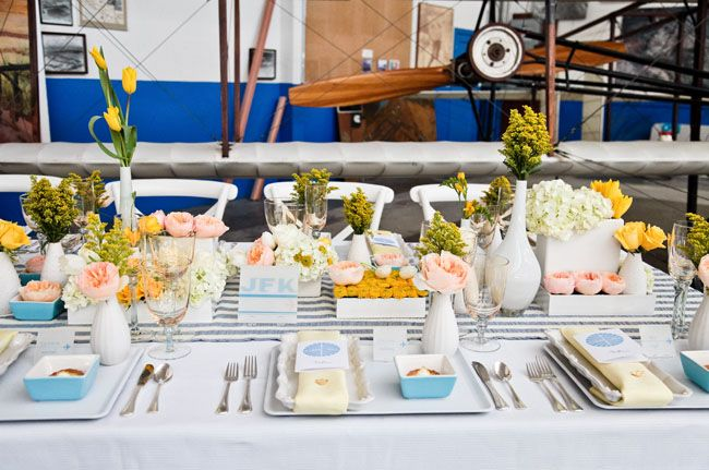 wedding reception airplane hanger