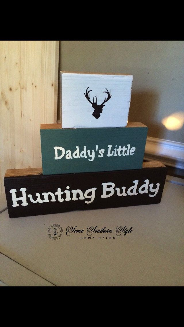 Daddy's Little Hunting Buddy Block Set. Hunting themed boys nursery.