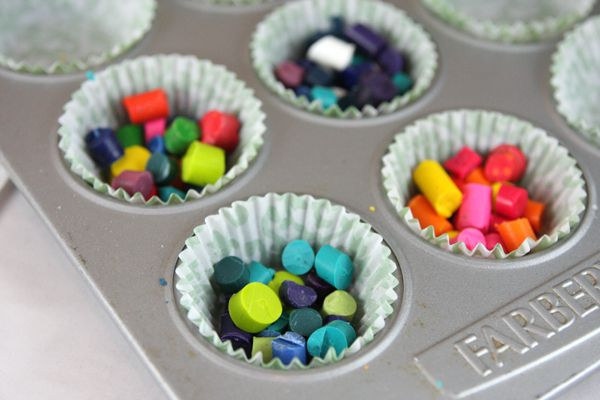 crayons in  muffin papers