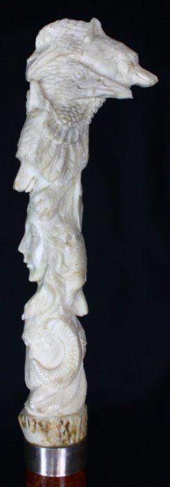 Тростника, рога оленя резной, Малакка, 19 в.