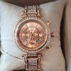 gold watches rose portia michael plated bracelet watch p ladies kors