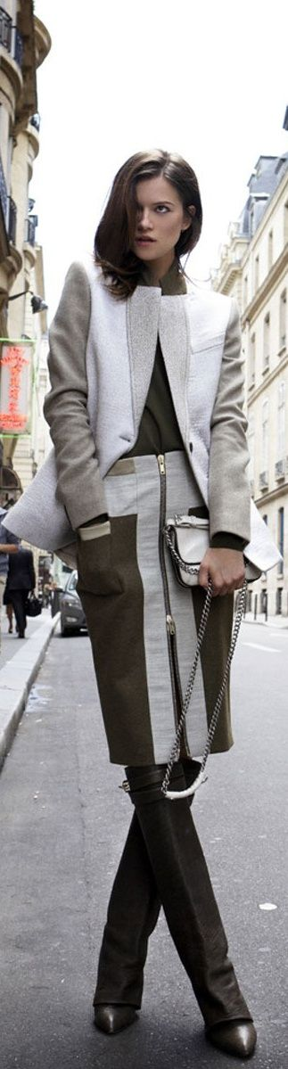 Brown, Gray, and White : structured blazer, zipper skirt, and boots