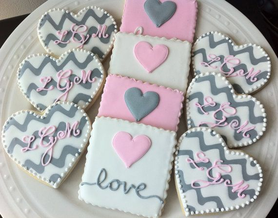 Custom Chevron Monogrammed Hearts and Love Heart by peapodscookies, $42.00. She made us the best cookies ever! Beautiful and well worth the money! Plus, if you buy from her, you are supporting a small business.