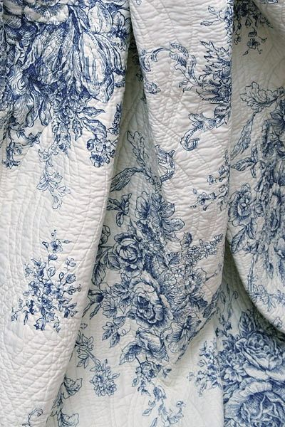 ♡ ♡ ♡ ♡Blue and white Toile de Jouy quilt.