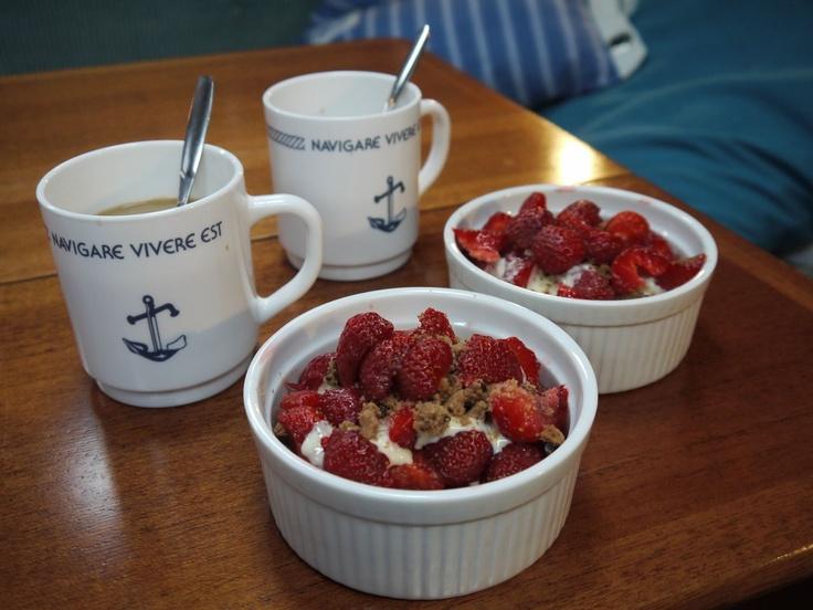 Dessert: fresh berries, bites of cookies and vanilla sauce