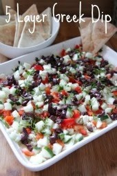 Go Greek: 5 layer Greek dip (hummus, cucumber, olives, feta, red bell