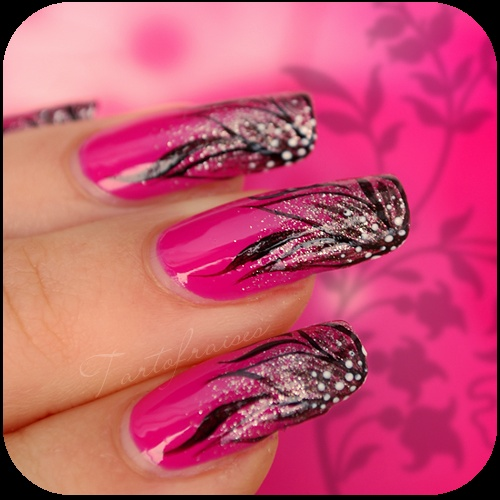 Tartofrai Nails, Nails Art, Nails Design, Wedding Nails, Pink Nails, Fingernail Fun, Black Flower, Long Summer Nails, Long Nails