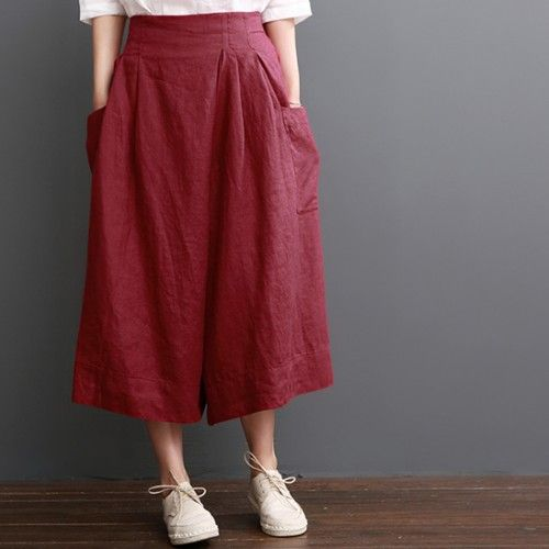 Linen pants summer red wide leg pants crop trousersThis dress is made of cotton linen fabric, soft and breathy, suitable for summer, so loose dresses to make you comfortable all the time.Measurement: One Size: length 71cm / 27.69