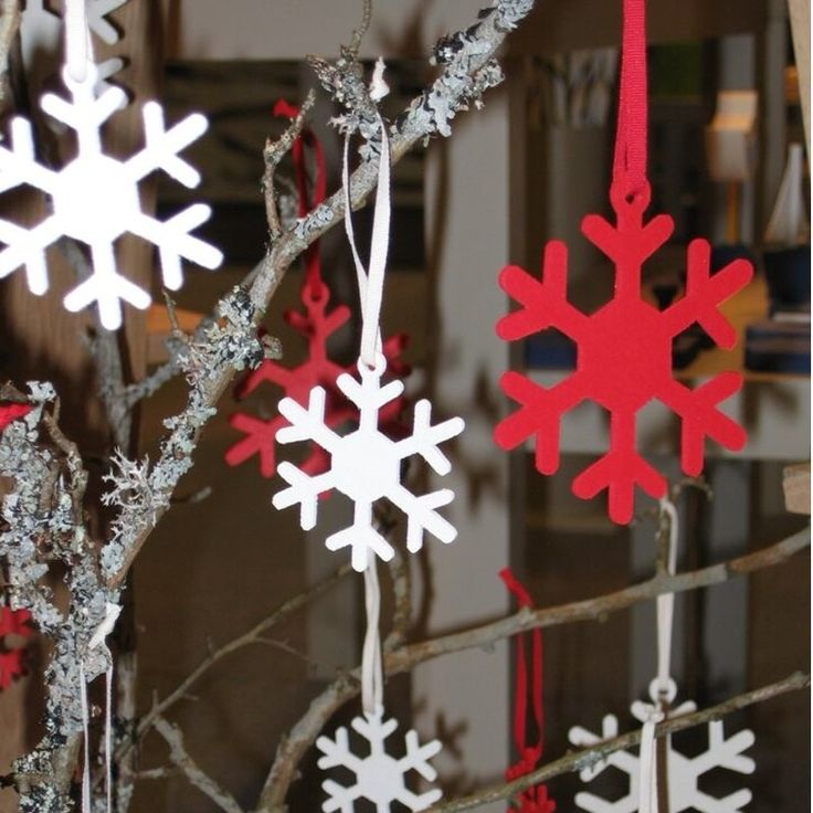 Traditional wooden christmas decorations crafted from a