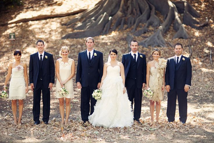 Champagne Bridesmaids And Navy Groomsmen