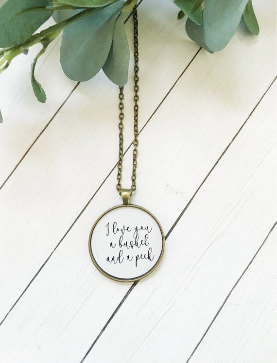 I Love You a Bushel and a Peck Necklace, Mother's Day from Kids, Mothers Day Gift from Daughter,Mom