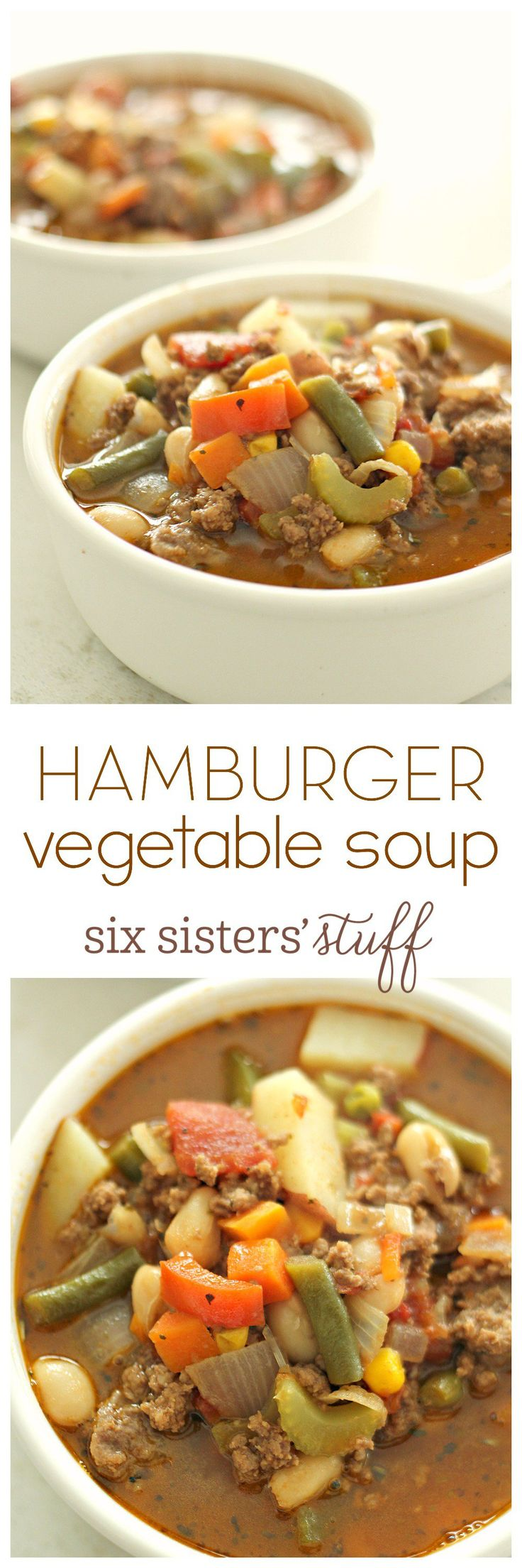 Hamburger Vegetable Soup from SixSistersStuff.com - easy and healthy!                                                                                                                                                                                 More