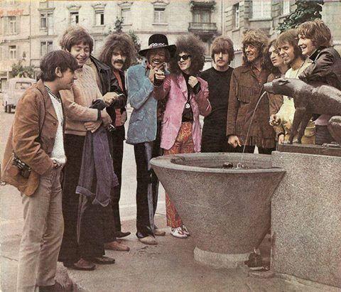 "adandyinaspic: "" Zurich 1968. Eric Burdon (The Animals), Stu Leathwood (The Koobas), Keith Ellis (The Koobas), Roy Wood (The Move), Jimi Hendrix, Noel Redding, Carl Wayne (The Move), John Mayall (John..."