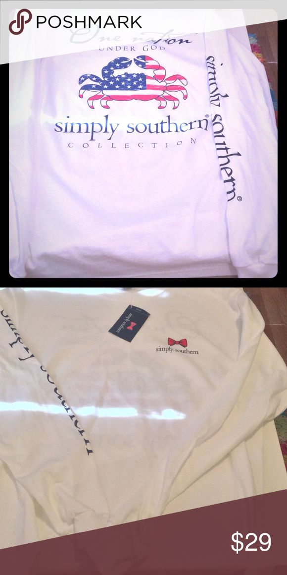 NWT SImply Southern long sleeve shirt New with tags, white in color and long sleeve.  Tagging vineyard vines for exposure only. Tops Tees - Long Sleeve