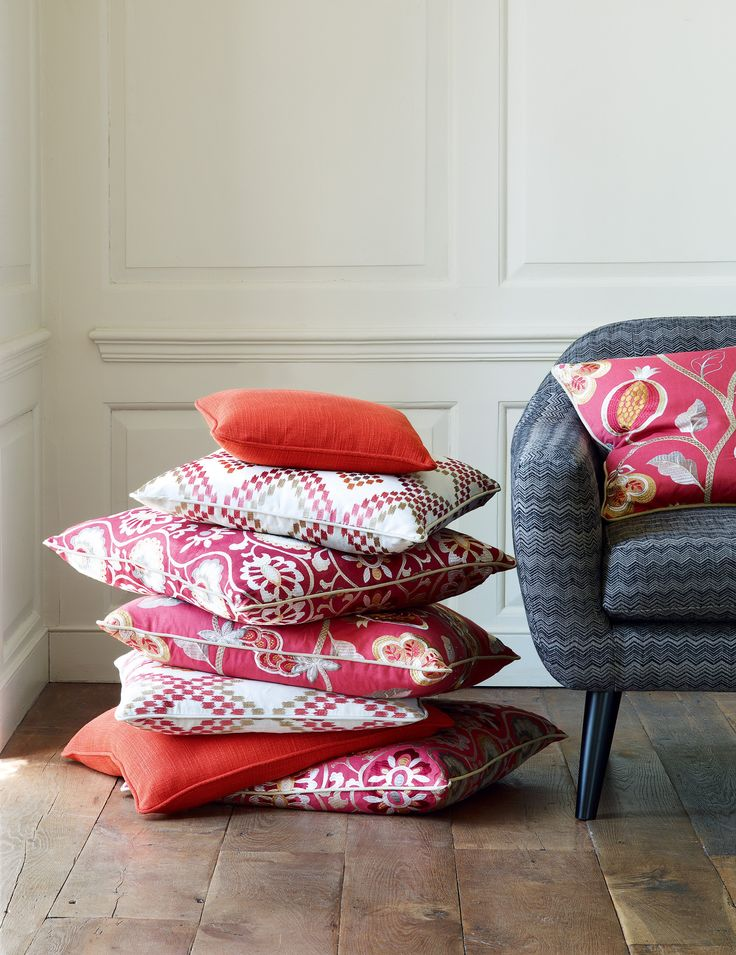 Cushions in fabrics from the Paradise Garden collection by Jane Churchill
