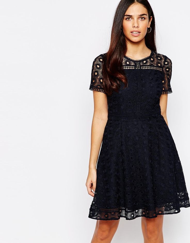 Black lace drop-waist faille dress bridesmaid