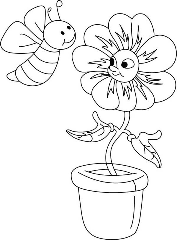 Bumblebee A Bumblebee Making Chat With The Flower Coloring Page Bee Coloring Pages Hello Kitty Colouring Pages Coloring Pages