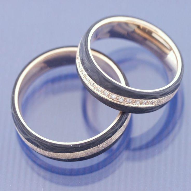 Hochzeitsringe Trauringe Eheringe 585 Eismatt Apricotgold und Carbon P1183263