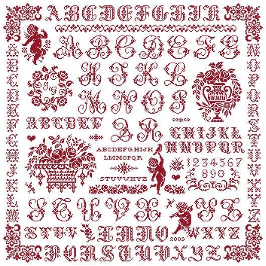 marquoir rouge romantique au point de croix avec alphabets sajou et fleurs