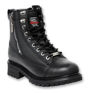 Milwaukee Accelerator Cowhide Leather Mens Motorcycle Riding Boots come in a solid black color and are sporty and functional with a full lace to toe. With a full grain leather upper they will last long days of riding. These motorcycle boots also feature double zippers for easy-on/easy-off and are versatile enough for a comfortable ride, a night on the town, or simply just to wear in style.