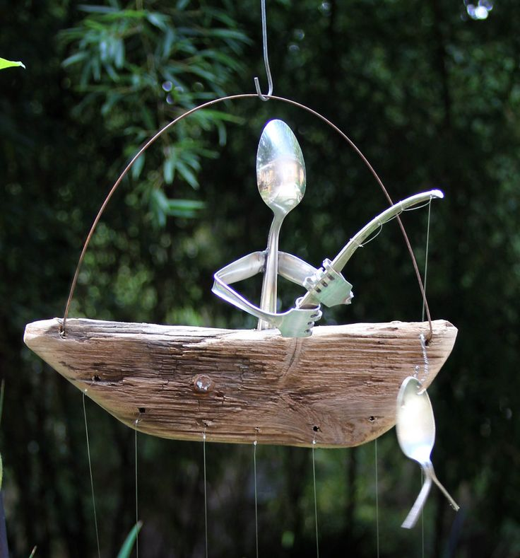 Wind chime  Driftwood dingy with silver spoon fish by nevastarr, $67.95