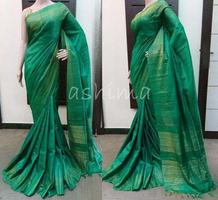 Code:1104160 - Tussar Siik saree With Tissue Border Price INR:6180/-