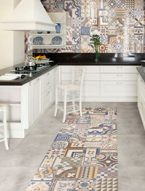 Patchwork Beige porcelain tiles, these trendy tiles look great on floor and wall! #armatile #KitchenTiles