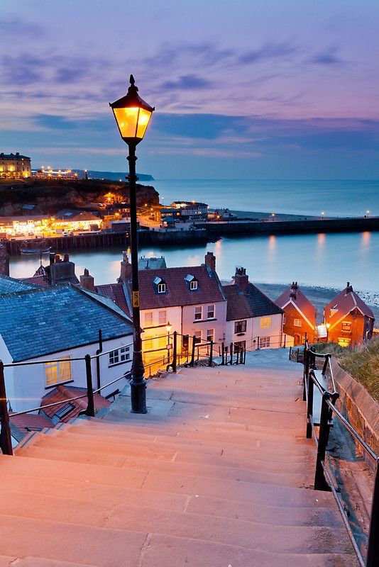 Whitby's 199 steps at sunset. Available as print, canvas, phone case and many more.   #Whitby #Northyorkmoors #Yorkshire #Northyorkshire