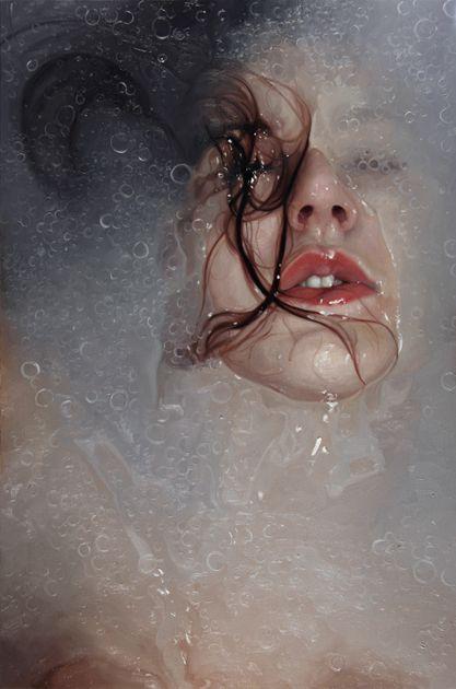 """Charade"" - Alyssa Monks, 2010, oil on linen {#hyperreal underwater submerged female figure painting}"