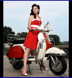 Red vespa girl scooters with photos 178