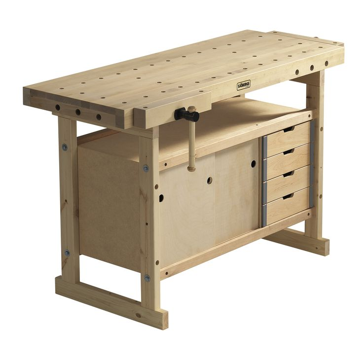 The Nordic Plus  gives you the size you need at a price you can afford. The top is hard Nordic birch and the bench is built for a long life with normal use. The Nordic Plus workbench can be used both right and left handed.  The combo promotional package also includes the 00-42 storage cabinet and the Nordic Plus Accessory kit which includes (1) Hold Fast for use in the work benches dog holes, (1 Set) Cork Jaw Cushions, (1 set) of aluminum jaw protectors and (1) Steel Anvil