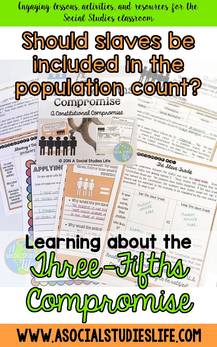 "These graphic organizers and diagrams are so helpful in teaching students the background and goals of the 3/5 compromise made during the Constitutional Convention of 1787.  Students research and analyze the compromises - the three fifths compromise and the compromise on the slave trade.  I love seeing their ""aha"" moments during this lesson!  Great for middle school Social Studies."
