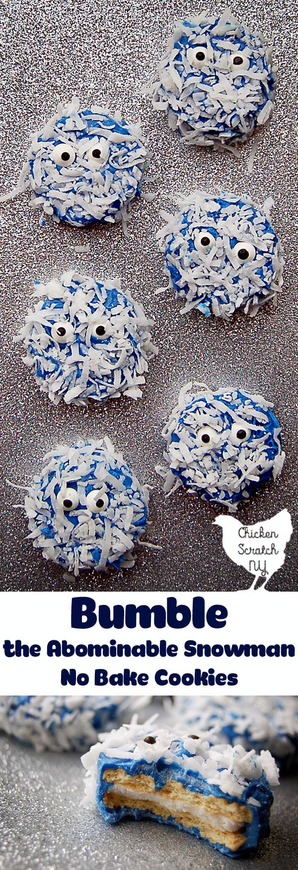 Whip up a batch of no-bake Bumble the Abominable Snowman Cookies with blue candy coating, candy eyes and a shaggy coat of coconut