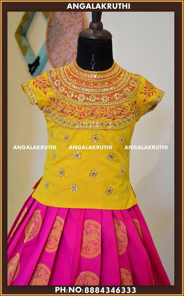 Hand Embroidery Blouse Designs For Kids Pattu Pavada