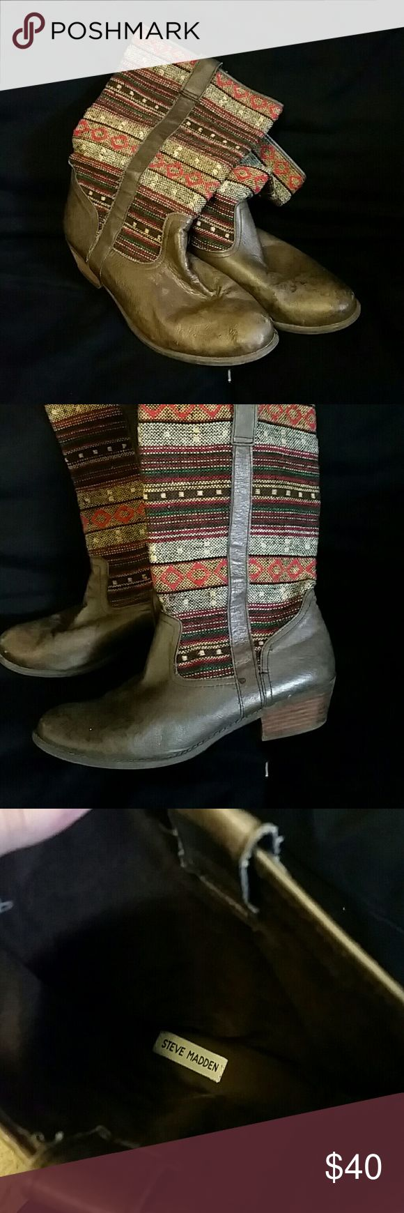 Steve madden boots Cowboy style boots with fabric tribal print. I think they are a size 9. I'm an 8 and I had to wear two pairs of socks for then to fit. They are worn but are very well made and have a lot of life left. I just don't wear them anymore, but love them. Steve Madden Shoes Combat & Moto Boots