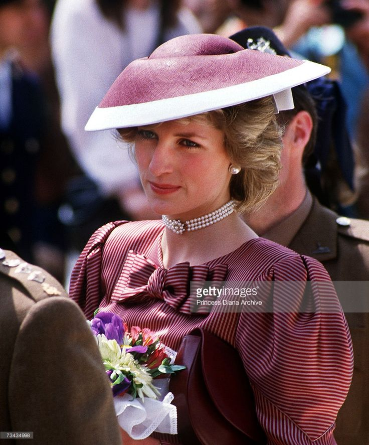 Princess Diana visits Anzio cemetery in Italy April 1984 She is wearing a Catherine Walker dress...