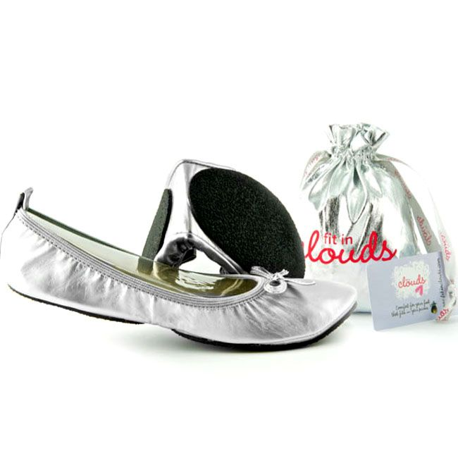 Dance the night away without damaging those tootsies with these stylish foldable flats. The padded footbed and round toe mean these trendy silver patent pumps are as comfy as they look. Keep them in your purse for when your six-inch heels get too much.