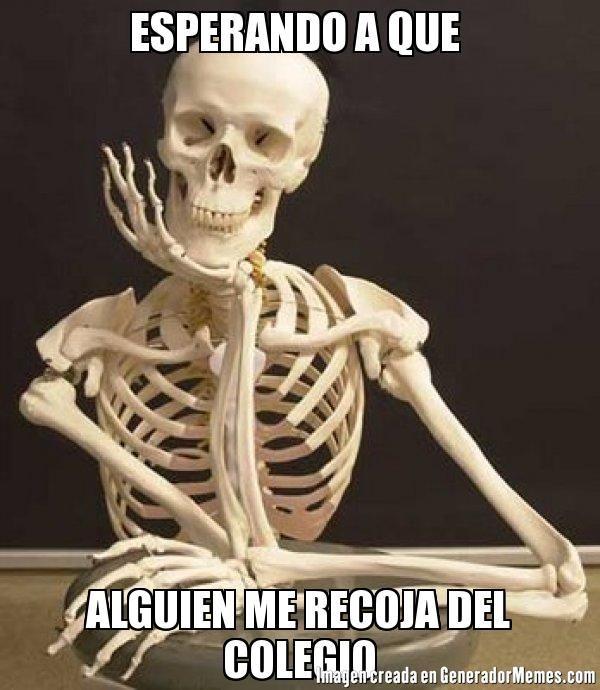 ESPERANDO A QUE  ALGUIEN ME RECOJA DEL COLEGIO  - Meme esqueleto