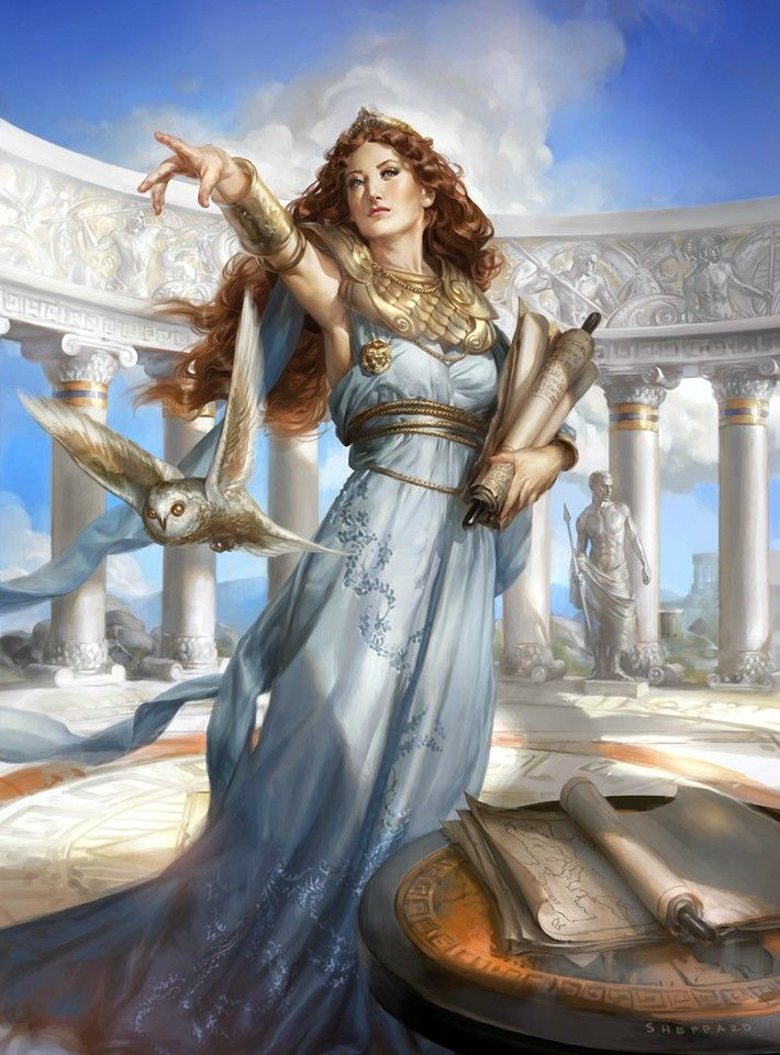 Athena - when the gods began to take an active part in the war of the mortals, Athena opposed Ares, and threw him on the ground by hurling at him a mighty stone