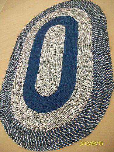 Blue  Braided Oval Rug Runner Reversible
