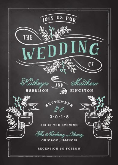 Floral Chalkboard Wedding Invitations Design Credit: Floral Chalkboard Wedding Invitation by Lehan Veenker