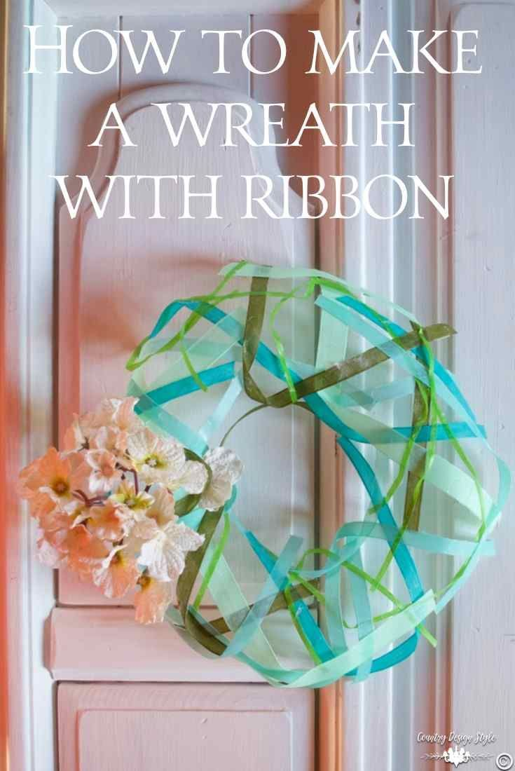 How to make a wreath with ribbon and Mod Podge.  Lacy and airy wreath form.  Great for weddings | Country Design Style | http://countrydesignstyle.com