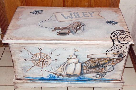 Vintage Old World Traveler Toy Chest Custom Designed , kids furniture, hand made, hand painted wooden toy box