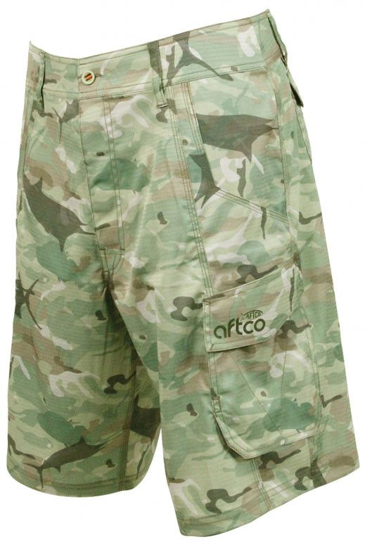 Tactical Fishing Shorts in Green Camo by AFTCO