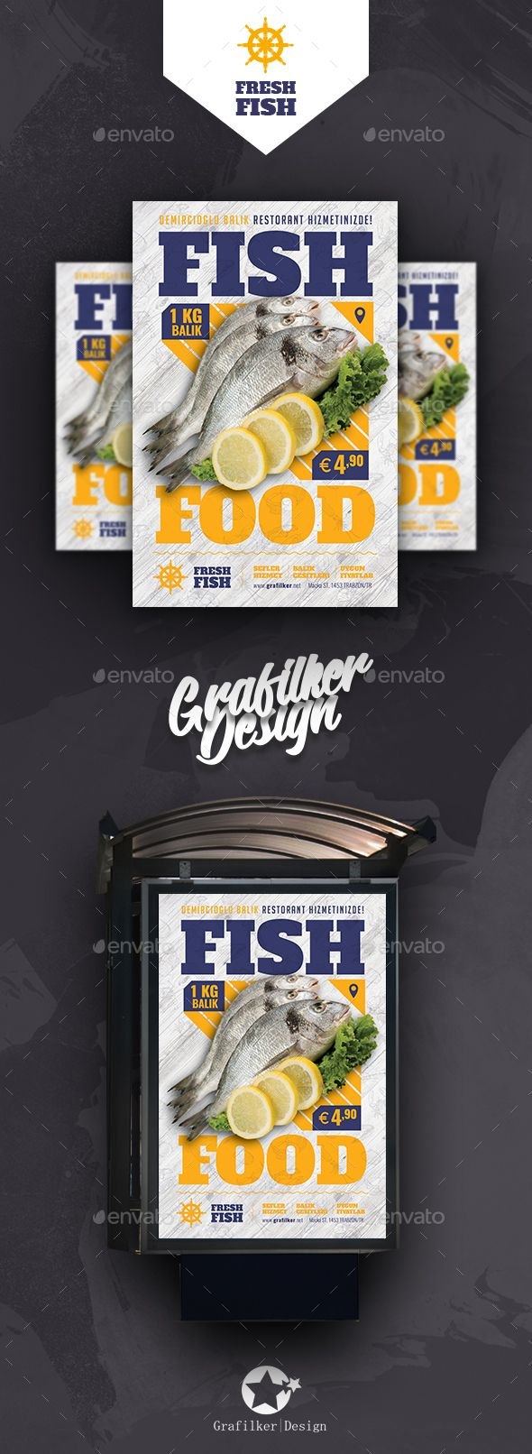 Sea Food Restaurant Poster Templates #flyer #summer • Download ➝ https://graphicriver.net/item/sea-food-restaurant-poster-templates/21318326?ref=pxcr